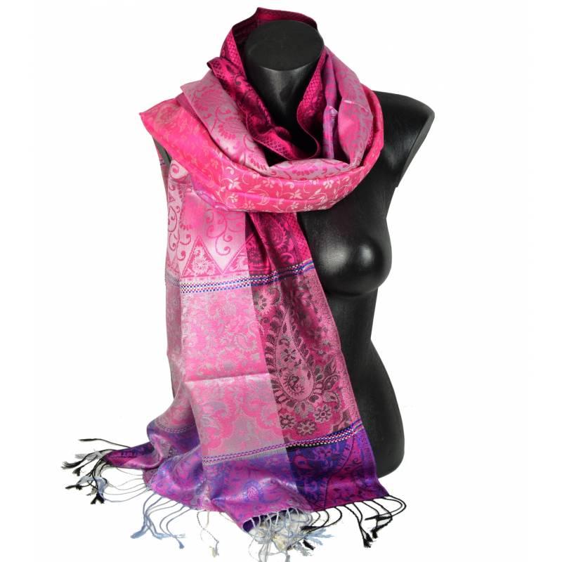 Pashmina en soie jacquard rose et violet