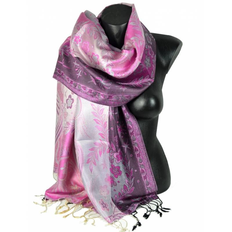 Pashmina en soie jacquard rose et noir