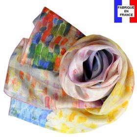 Echarpe en soie  Signac – Nuages roses Antibes