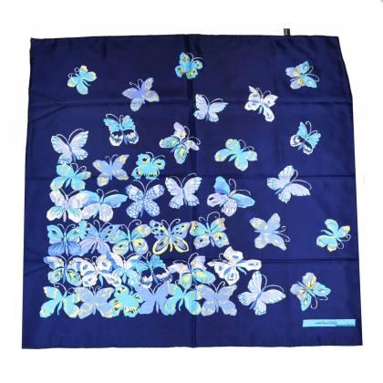 Carré de soie Dufy – Papillons vs bleu