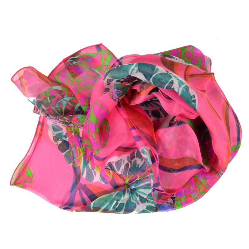 Echarpe en soie Pivoines roses made in France