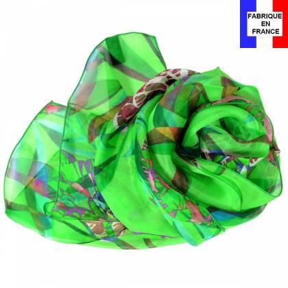Echarpe en soie Pivoines verte made in France