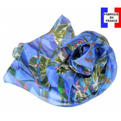 Echarpe en soie Pivoines bleues made in France