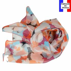 Echarpe en soie Puzzle corail made in France