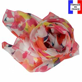 Echarpe en soie Puzzle rose made in France