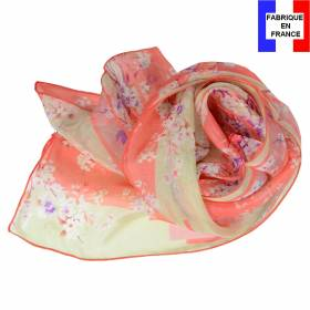 Echarpe en soie Bouquet de printemps corail made in France