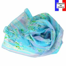 Echarpe en soie Bouquet de printemps bleue made in France