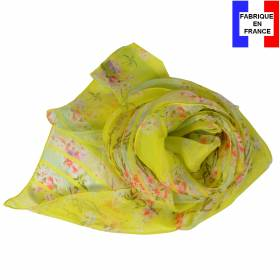 Echarpe en soie Bouquet de printemps jaune made in France