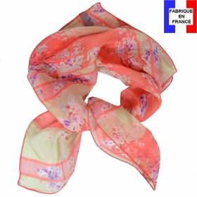 Carré de soie liberty corail made in France
