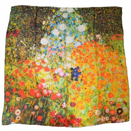 Carré de soie Klimt, Jardin fleuri