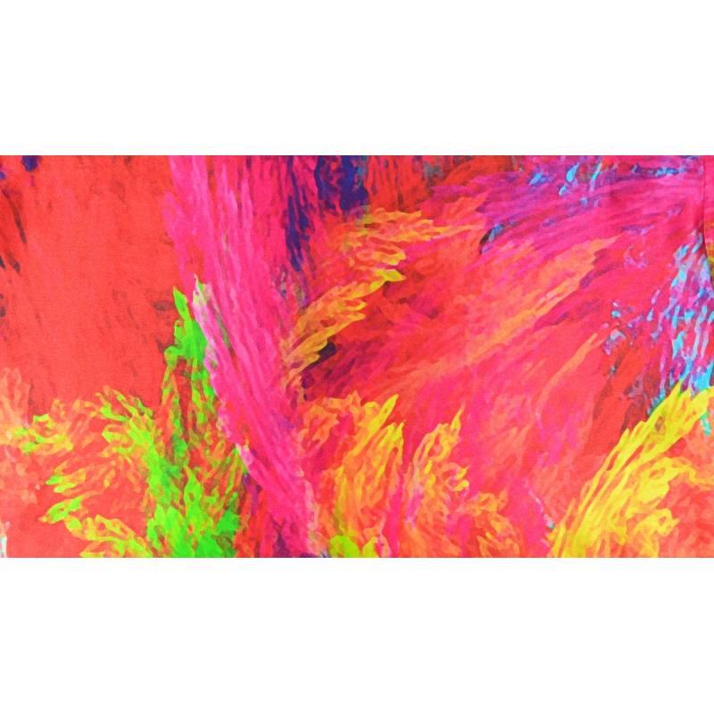 Echarpe soie multicolore abstrait