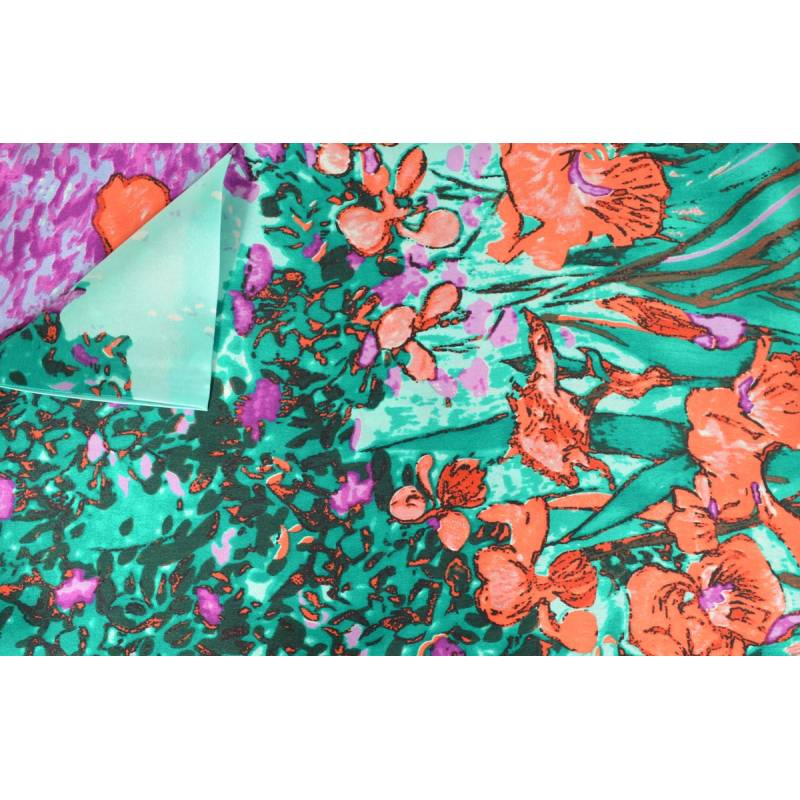 Echarpe en soie tableau iris rouge-vert