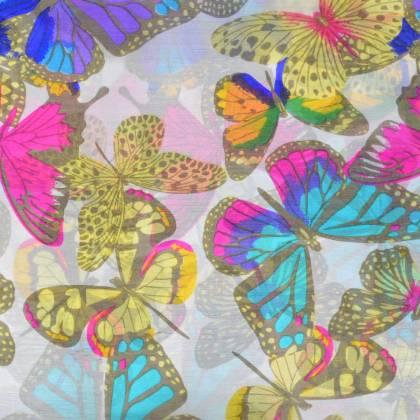 Etole en soie blanche à papillons