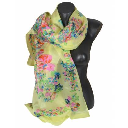 Etole en soie jaune à fleurs