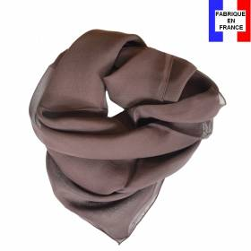 Carré en soie 70cm marron made in France