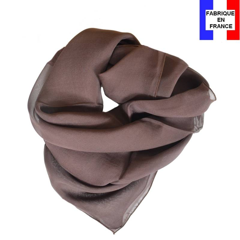 Carré en soie 70cm marron made in France