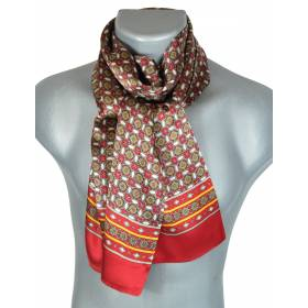 Foulard en soie rouge et orange