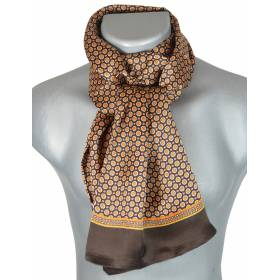 Foulard soie homme ronds - marron et orange