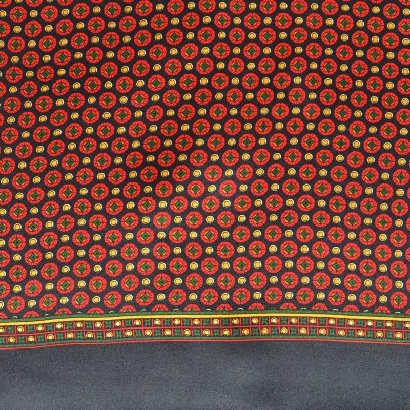 Foulard soie homme ronds - noir et rouge