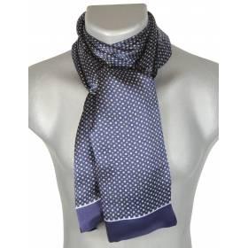 Foulard soie homme petits carrés bleu