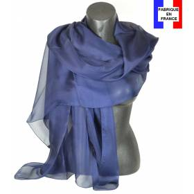Etole soie cérémonie bleu-marine made in France
