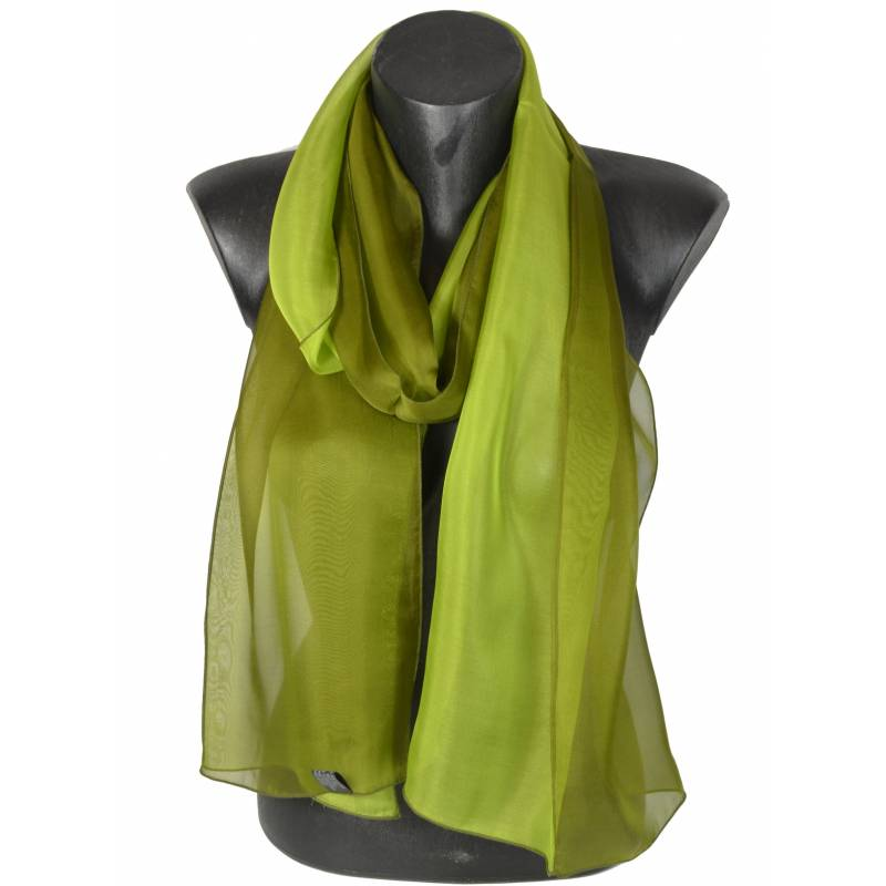 Foulard en soie bi-bandes vert et kaki made in France