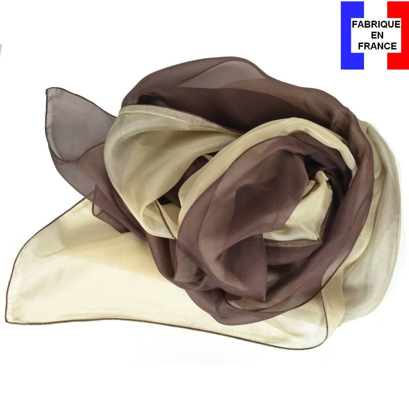 Foulard en soie bi-bandes marron et beige made in France