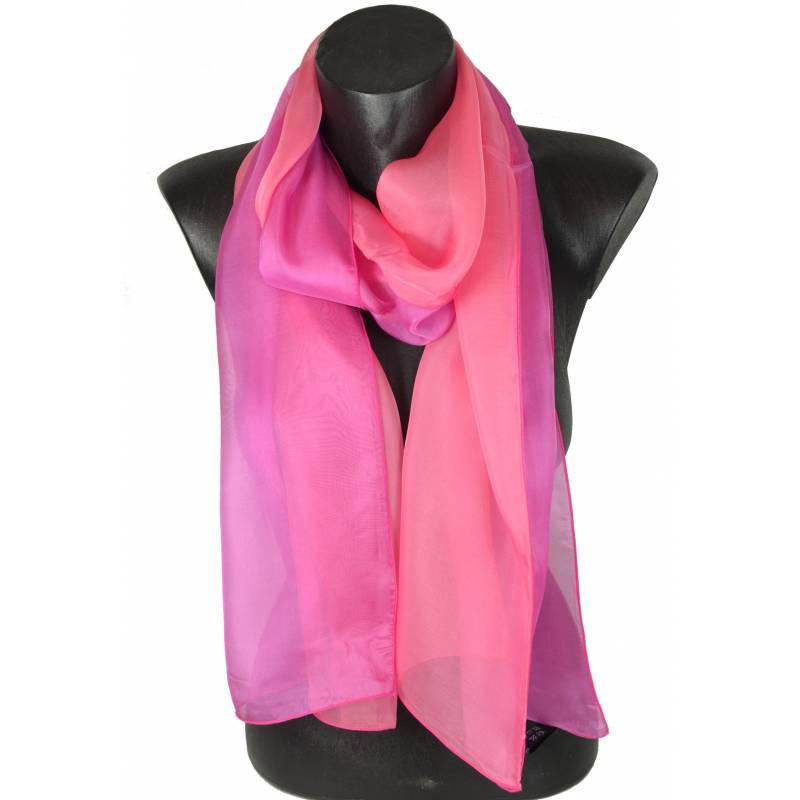 Foulard en soie bi-bandes rose made in France