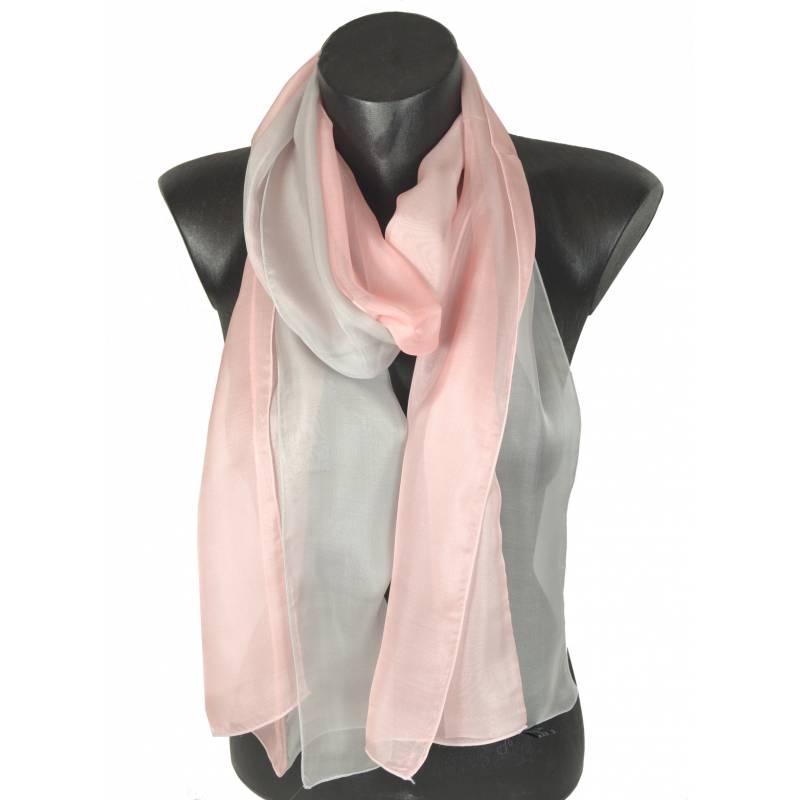 Foulard en soie bi-bandes rose et gris made in France