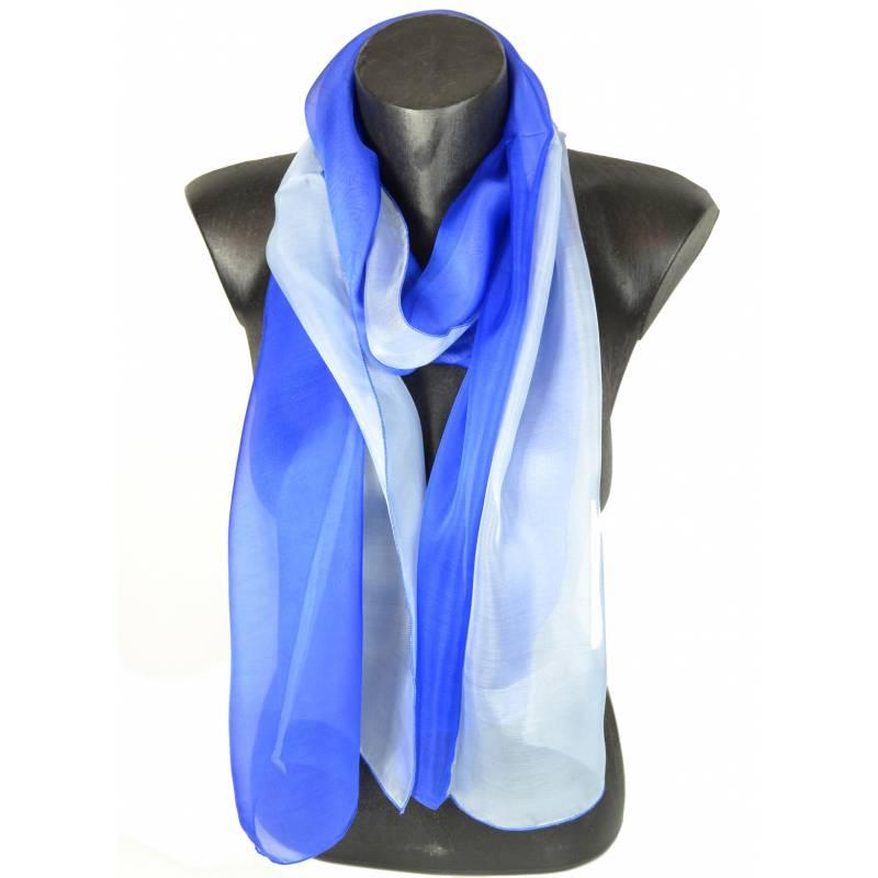 Foulard en soie bi-bandes bleu made in France