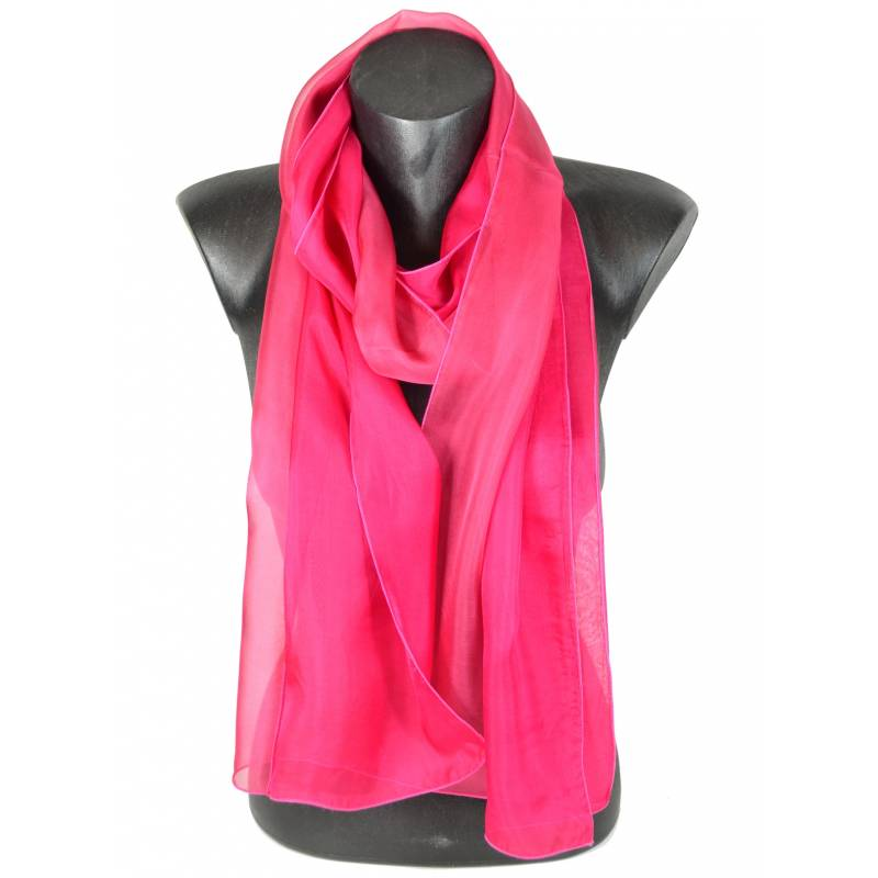 Foulard en soie bi-bandes rose et rose indien made in France