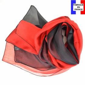 Foulard en soie bi-bandes noir et rouge made in France
