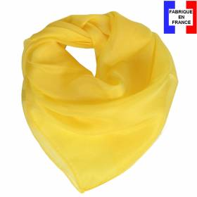 Carré en soie 70cm jaune made in France