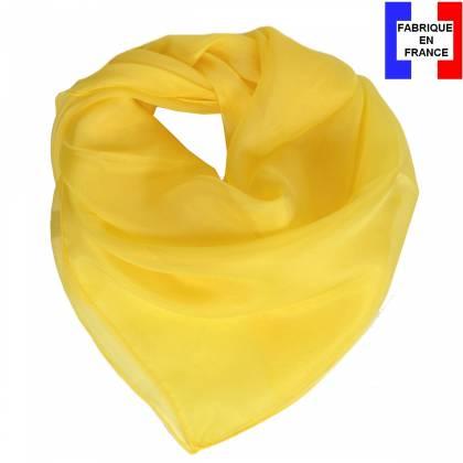 Carré en soie 70cm jaune made in France