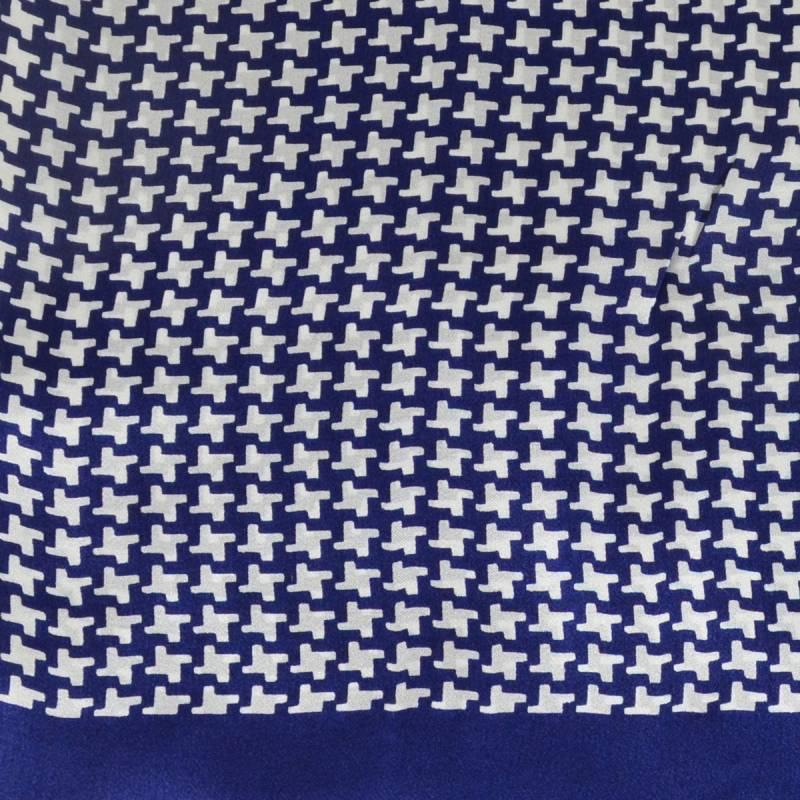 Foulard soie homme pied de poule bleu