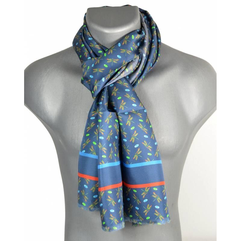 Echarpe homme en soie Tiffany – Dragon fly bleu