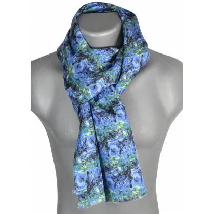 Echarpe homme en soie Cézanne – Paysage Bleu