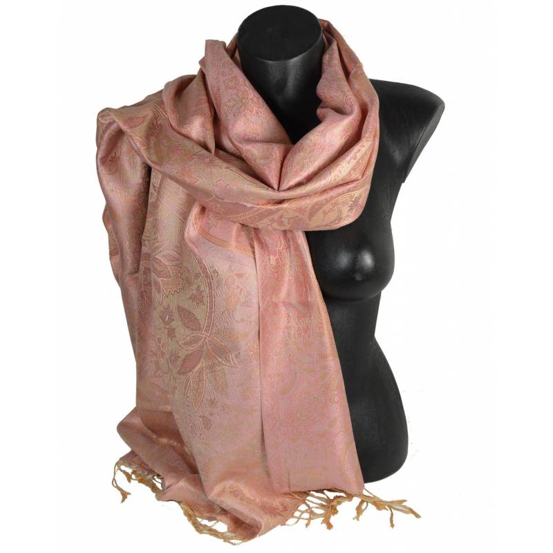 Pashmina en soie antique jacquard rose clair