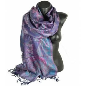 Pashmina en soie antique jacquard bleu et rose