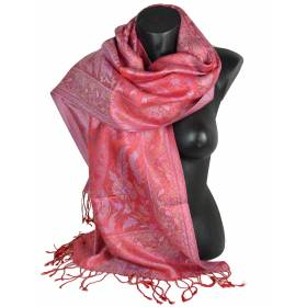 Pashmina en soie antique jacquard rouge-rose