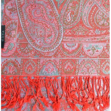 Pashmina en soie antique jacquard rouge-bleu