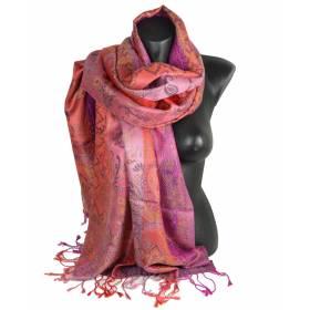 Pashmina en soie antique jacquard rose et rouge
