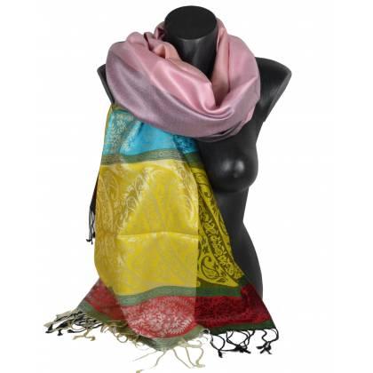 Pashmina en soie antique jacquard multicolore
