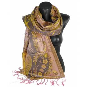 Pashmina en soie antique jacquard rose et jaune