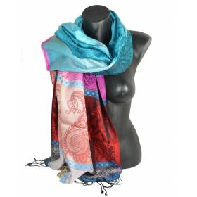 Pashmina en soie antique multicolore