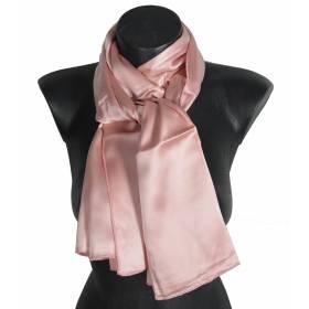 Echarpe en satin de soie rose poudré