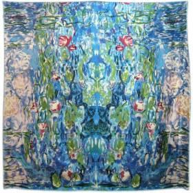 Foulard carré motif Les Nymphéas Bleu Monet