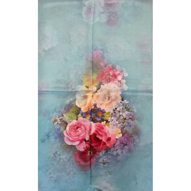 Echarpe soie bouquet de roses