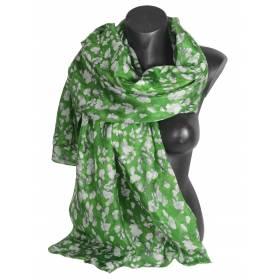 Etole en soie verte fleurs blanches