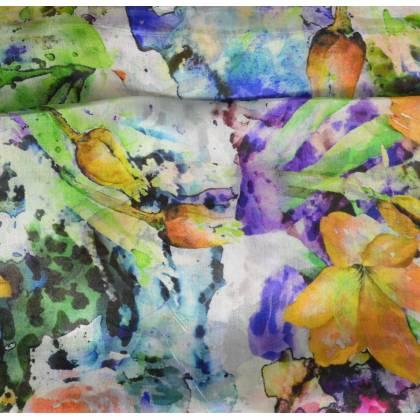 Etole en soie verte fleurs fondues